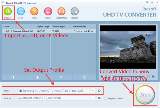 Convert Videos to Sony XBR 4K UHD TV