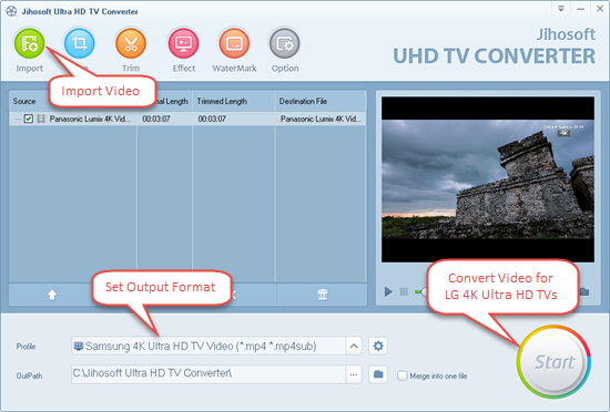 Convert video for LG 4K Ultra HD TV