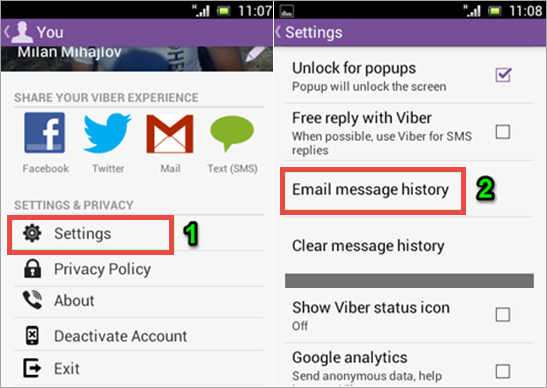 Backup & Restore Viber Messages from Android by Email