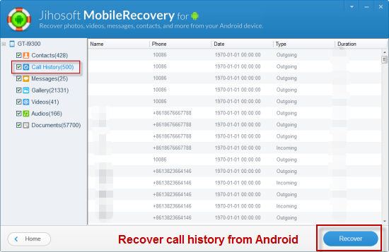 Preview and retrieve lost call logs on Android