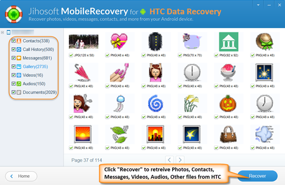 Preview and recover files from HTC One