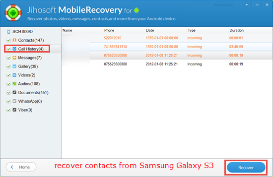 how to delete call history on samsung galaxy s3