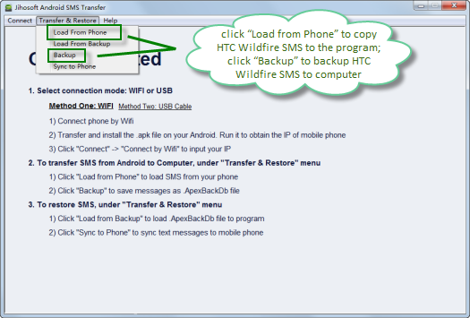 How to Transfer and Backup SMS from HTC Wildfire to PC