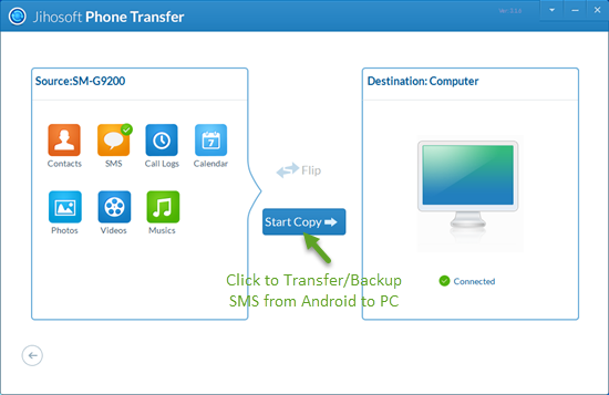 Transfer SMS Messages from Android Phone to PC