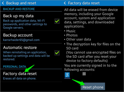 Factory reset your Android