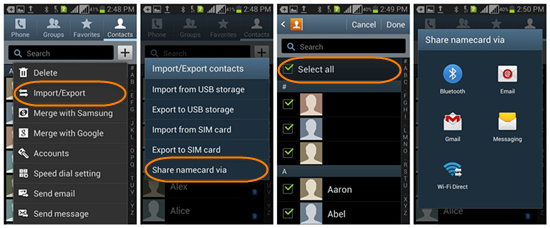Move Contacts from Android to Android via Bluetooth or Wi-Fi Direct