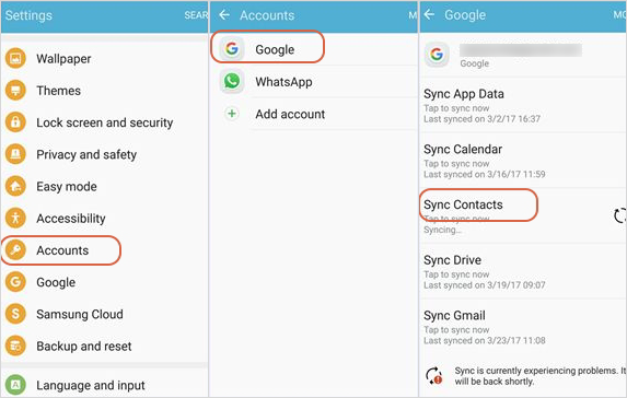 Sync Contacts from Android to Android by Gmail