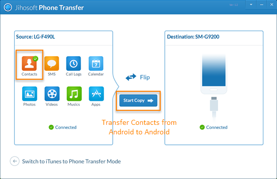 Transfer Contacts from Android to Android by One Click