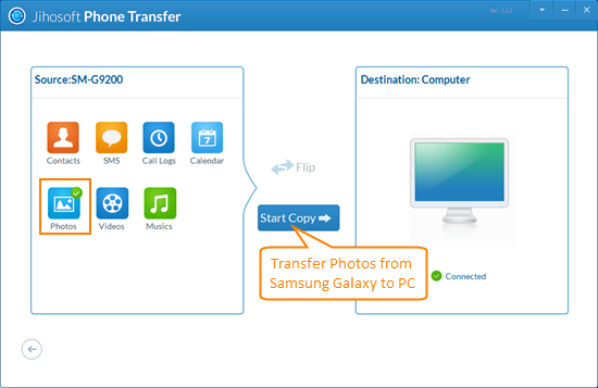 Transfer Samsung Photos to PC with Jihosoft Android Transfer