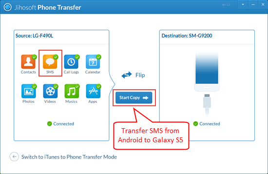 Transfer Android SMS to Samsung Galaxy S5