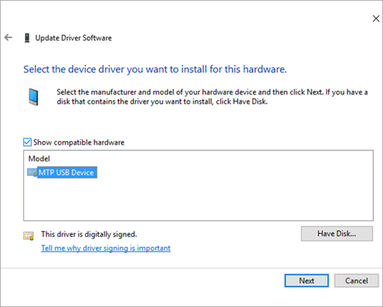 Update MTP USB device driver