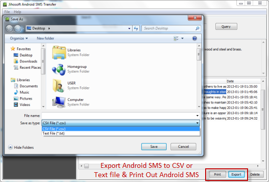 Export & Print Out Android SMS
