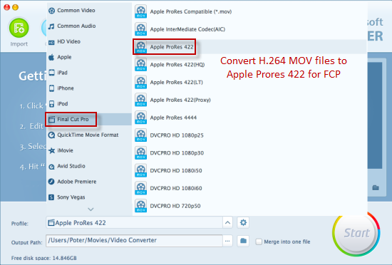 How to Convert H 264 MOV to ProRes 422 for FCP