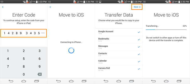 How to move data from Android to iPhone with Move to iOS