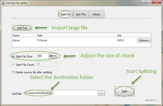 Free Big File Splitter - Split and Rejoin File of Any Size or Type