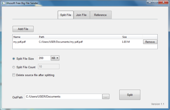 Windows 7 Jihosoft Big File Sender Free 1.1 full