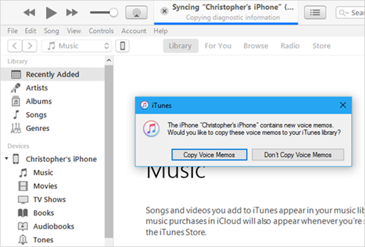 Sync iPhone Voice Memos with iTunes on Computer