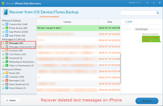 recover deleted text messages iphone iphone 5 sms recovery directly recover deleted text 1769
