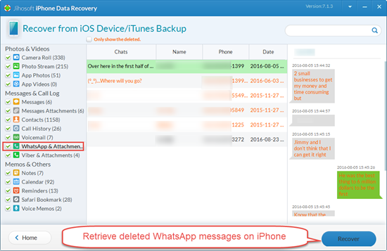 Retrieve Deleted WhatsApp Messages on iPhone Directly