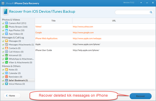 Restore Kik messages on iPhone with Kik Message Recovery Tool