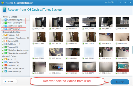 Retrieve Deleted Videos from iPad