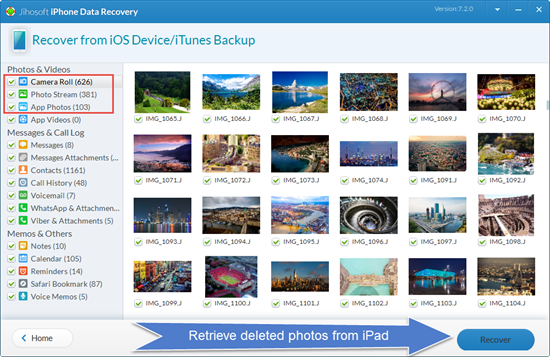 Retrieve Deleted Photos from iPad without Backup