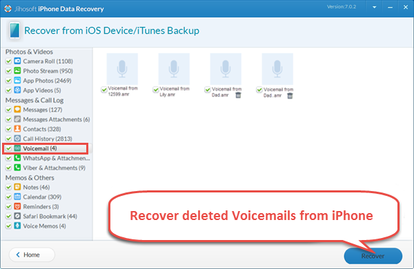 Recover Voicemails Directly from iPhone or iTunes Backup