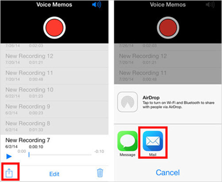 Copy Voice Memos from iPhone to Computer Via Email