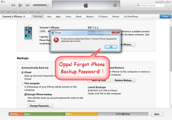 forgot my iphone password how to recover itunes backup password for iphone 2553