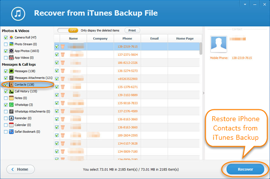 How to Restore iPhone Contacts from Backup for Free