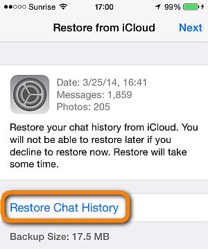 chat backup whatsapp iphone