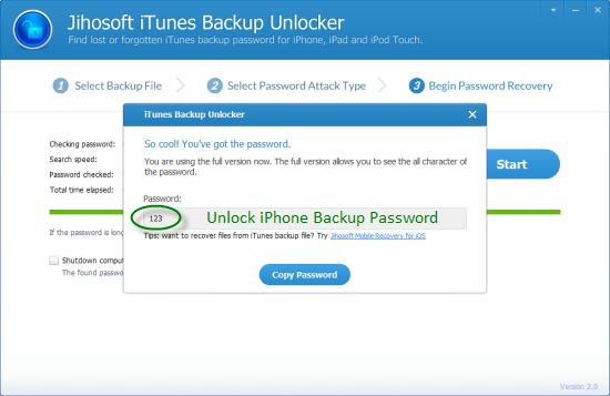 password iphone backup unlock