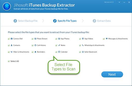 Jihosoft Free iTunes Backup Extractor