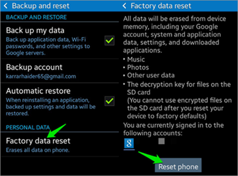 Permanently Delete Photos from Android by Factory Reset