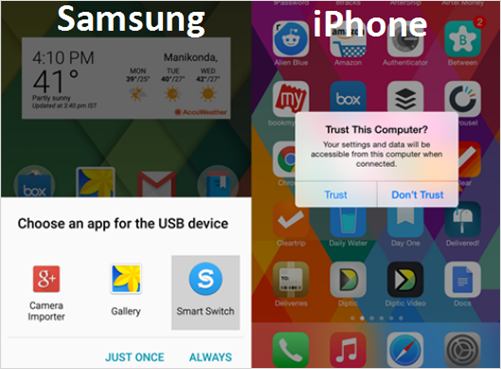 Sync iPhone Contacts to Samsung with OTG Adaptor