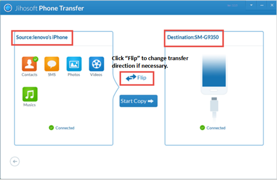 Jihosoft Phone Transfer - Transfer Contacts from iPhone to Samsung