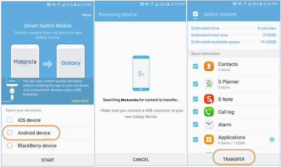 Sync Motorola Data to Samsung Using Samsung Smart Switch