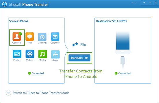 Transfer iPhone Contacts to Android Using Jihosoft Phone Transfer
