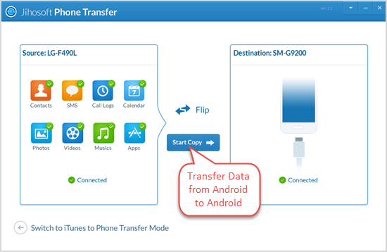 Transfer Data from Android to Android in One-Click