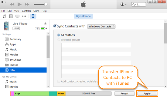 transfer contacts from iphone to pc free