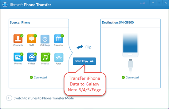 Transfer iPhone Data to Galaxy Note 3/Note 4/Note 5/Note Edge