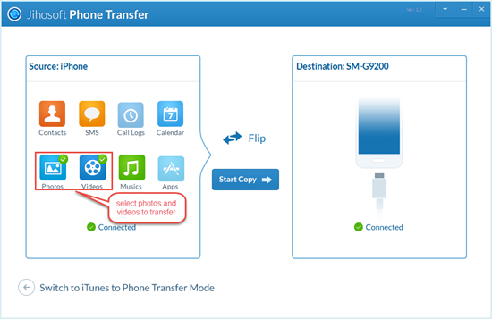 Copy Videos Using Jihosoft Phone Transfer
