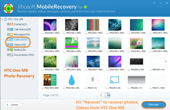 HTC One M8 deleted photos recovery