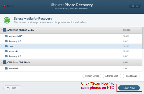 Recover Deleted Photos from HTC Phone