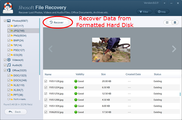 Preview and recover data from formatted hard disk.