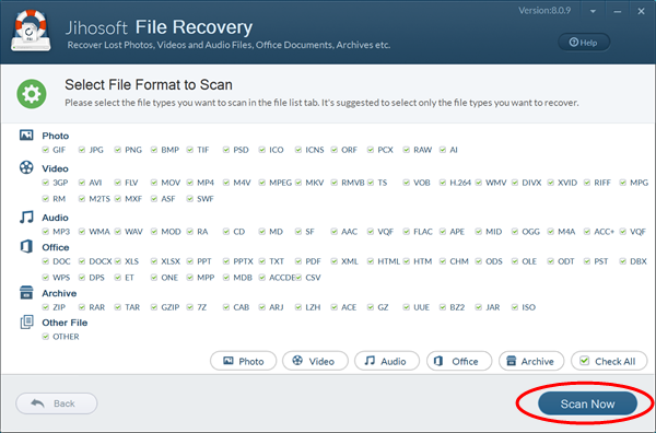 Scan lost files on formatted hard disk drive.
