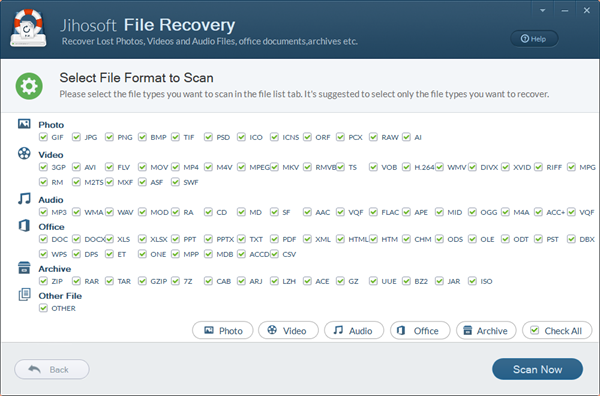 Select File Format to Scan