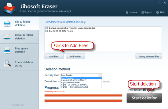 Jihosoft Free Eraser full screenshot