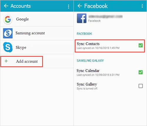 Add Facebook contacts to Android
