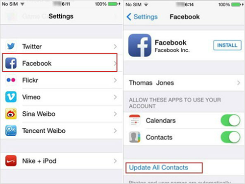 Add Facebook contacts to iPhone
